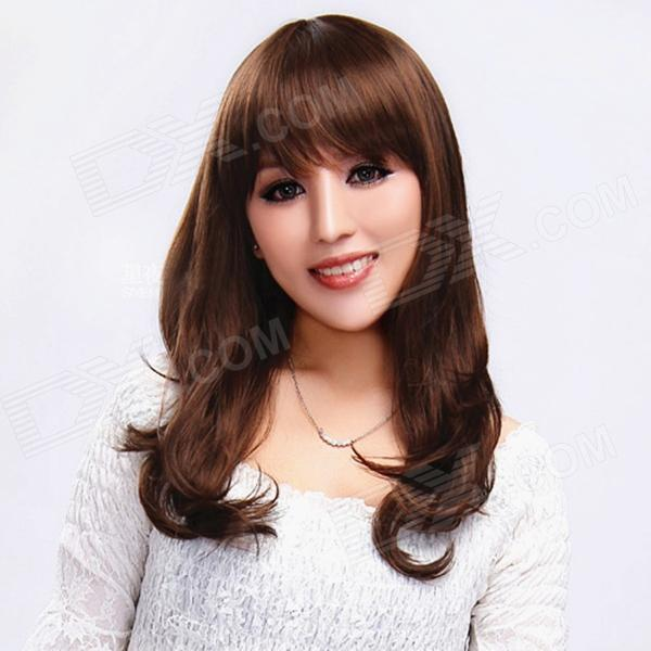 Finding Color FCWG026 Fashionable Lady's Diagonal Bangs Long Curly Hair Wig - Brown cute sexy cosplay wig full bangs curly