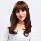 Finding Color FCWG026 Fashionable Lady's Diagonal Bangs Long Curly Hair Wig - Brown