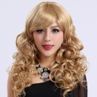Finding Farbe FCWG038 Modische Damen Diagonal Bangs Lange Locken Perücke - Golden