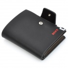 BOVIS Fashion Man's PU Credit Name Card Wallet w/ Slots + Buckle - Black
