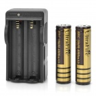 "US Plug UltraFire 18650 Battery Charger w/ 2 x 3.7V ""4000""mAh 18650 Batteries - Black"