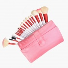 Finding Color FC18002 Professional 18-in-1 Cosmetic Brushes Set w/ Case - Silver + Red