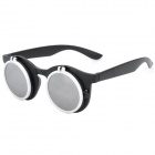 Folding UV Protection Dual Resin Lens Cellulose Frame Sunglasses Goggles - Black