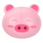 Duoli Mini Cartoon Pig Style Toothbrush-Holder W/ Suction Cup - Pink
