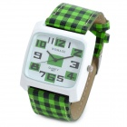 Grid Pattern PU Band Quartz Analog Waterproof Wrist Watch - Green + Black + White (1 x 377)