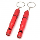 Outdoor Survival Aluminum Alloy Whistle with Keychain - Red (2 PCS)