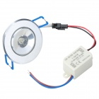 1W 90lm 6000K White Light LED Ceiling Lamp w/ Driver- Silver (AC 89~265V )