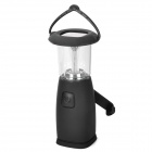 Solar / Hand-Cranked Powered 6-LED 3-Mode White Camping Lantern - Black
