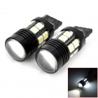 T20 5.6W 280lm CREE XP-E R5 + 12-SMD 5050 LED White Light Car Steering Light w/ Optical Lens (2 PCS)