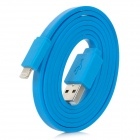 Flat USB Sync Data Lightning Cable for iPhone 5 - Blue (100CM)