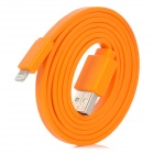Flat USB Sync Data Lightning Cable for iPhone 5 - Orange (100CM)