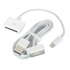 USB 30-Pin Data/Charging Cable + 30-Pin Female to Lightning 8-Pin Male Adapter for iPhone 5 - White