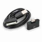 USB 30-Pin Data/Charging Cable + 30-Pin Female to Lightning 8-Pin Male Adapter for iPhone 5 - Black