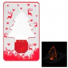 Card Style Christmas Tree Pattern 2-LED Yellow Light Decoration Lamp - Red + White