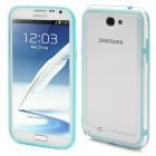 Protective Bumper Frame Case for Samsung Galaxy Note 2 N7100 - Cyan + Transparent