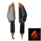 0.5W 55lm 11-LED Warm White Light Motorcycle Steering Light - Black + Grey (2 PCS)
