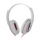 MO-123 Headset Headphones w/ Microphone for iPhone / iPad - White + Red (3.5mm Plug)