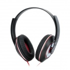 MO-123 Headset Headphones w/ Microphone for iPhone / iPad - Black + Red (3.5mm Plug)