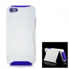 Protective Plastic + Silicone Back Case with Holder for Iphone 5 - White + Purple