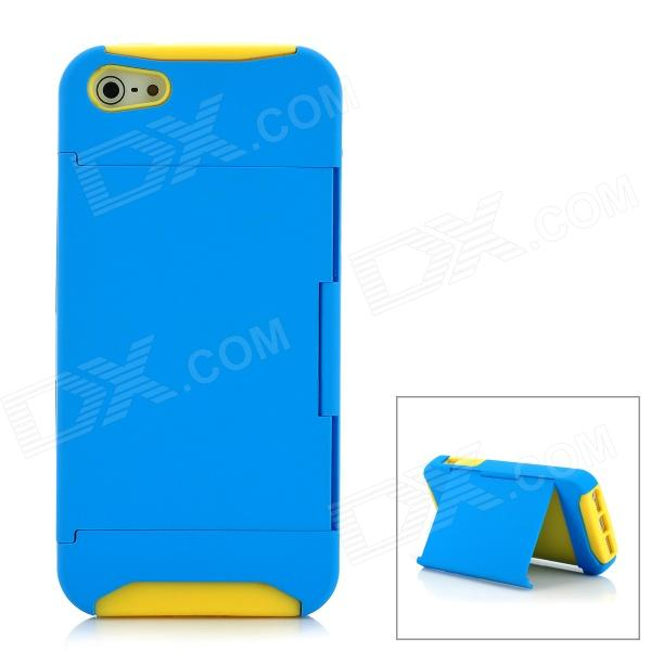 Protective Plastic + Silicone Back Case with Holder for Iphone 5 - Yellow + Blue janse football foot style 15w dual usb eu plug power charger car charger white