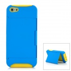 Protective Plastic + Silicone Back Case with Holder for Iphone 5 - Yellow + Blue