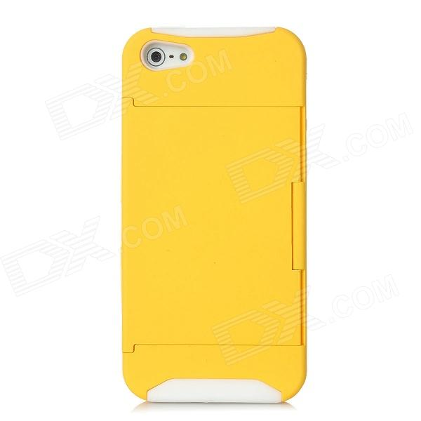 Protective Plastic Cover Silicone Case w/ Holder Stand for Iphone 5 - Yellow + White silicone protective storage carrying case charge holder stand charging wallet for apple watch series 1 series 2