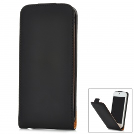 Protective Top-Flip PU Leather Case for Iphone 5 - Black