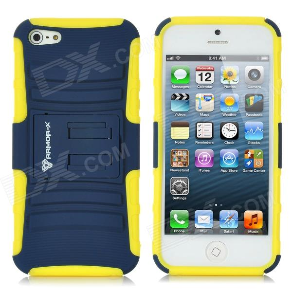 Armor-x Protective Silicone Case w / Stand-Halter für iPhone 5 - Yellow + Deep Blue