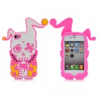 Cool Protective Soft Enamel Back Case for iPhone 4 / 4S - Pink + White + Yellow