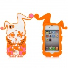 Cool Protective Soft Enamel Back Case for iPhone 4 / 4S - Orange + White + Purple