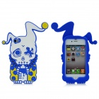 Cool Protective Soft Enamel Back Case for iPhone 4 / 4S - Blue + White + Yellow
