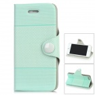 Protective Flip-Open PU Leather Case for Iphone 5 - Light Green + White