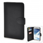 Lichee Pattern Protective Flip-Open PU Leather Case w/ Card slots for Samsung N7100 - Black