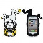 Cool Protective Soft Enamel Back Case for iPhone 4 / 4S - Black + White + Yellow