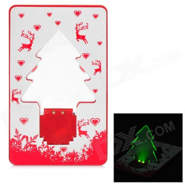 Card Style Christmas Tree Pattern 2-LED Green Light Decoration Lamp - Red + White 65cm 18cm 110cm led christmas tree lamp