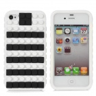 Protective Silicone Case w/ Free Combination Magic Beans for iPhone 4 / 4S - White