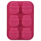 SP98008 Christmas Snowman Smiling Face Shaped Cake Maker DIY Mould Tray - Claret