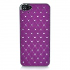 Protective Rhinestone ABS Plastic Case for Iphone 5 - Silver + Purple