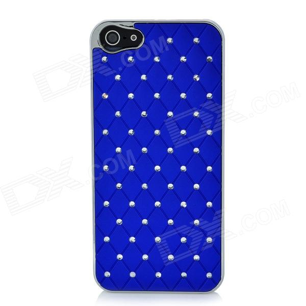 Protective Rhinestone ABS Plastic Case for Iphone 5 - Blue + Silver fluo blue color abs pla 1 75mm plastic consumables material