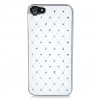 Protective Rhinestone ABS Plastic Case for Iphone 5 - White + Silver