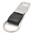 iwoo iwoo-036 Man's Single-Ring Leather Keychain - Silver + Black