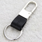 iwoo iwoo-009 Man's Single-Ring Leather Keychain - Silver + Black