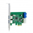 IOCREST PCEEJ188-23E2I 5Gbps 2-Port USB3.0 + 19-Pin Desktop PC PCI-E Card Adapter - Green
