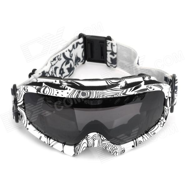PANLEES DH002 Skiing Windproof Anti-Fog Dual-Layer Goggles - White + Black