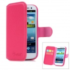 ALIS Lychee Pattern Protective PU Leather Case for Samsung Galaxy S3 i9300 - Deep Pink