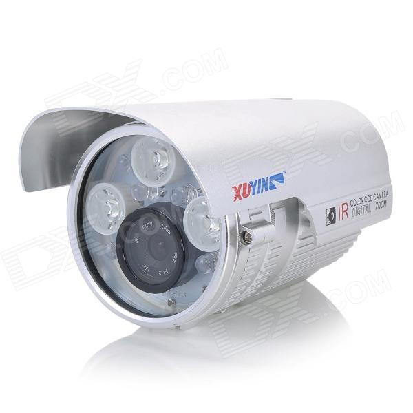 XUYING TS-958C 1/3 CCD Water Resistant Surveillance Camera w/ 9-LED IR Night Vision - Silver ts 8816s yhs water resistant 1 3 ccd surveillance security camera w 30 led ir night vision