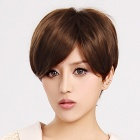 Finding Color FCWG-007 Fashion Tilted Frisette Short Hair Wig - Light Brown