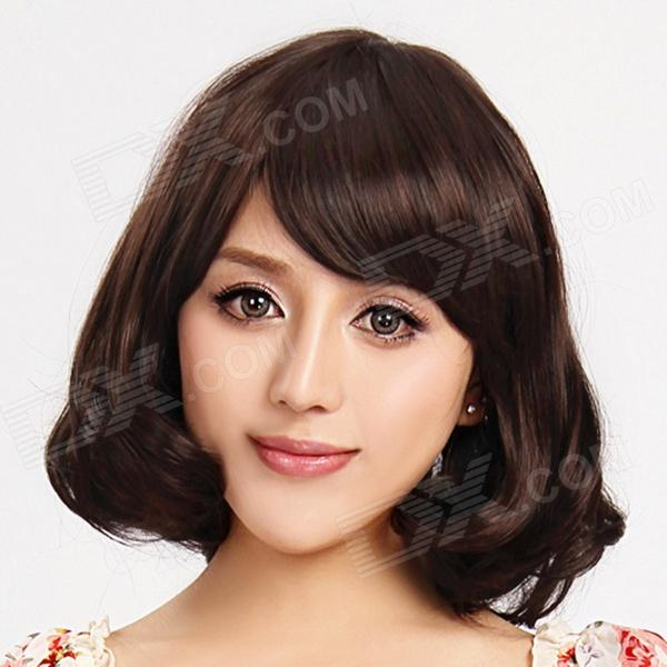 Hitta färg FCWG009 Tilted Frisette Short Curly Synthetic Hair Paryk - Brun