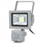 10W 6500K 800lm 1-LED White Light Automatic Body Infrared Induction Lamp - Grey
