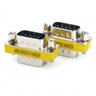 20564 Serial RS232 DB9 9-Pin Male to Male Adapters - Silver + Yellow (2 PCS)